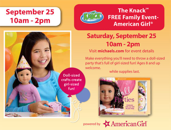 Sept 25th Michaels Free American Girl Craft Event Finding Debra