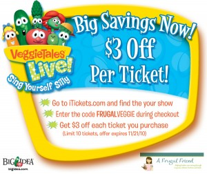 $3.00 off Veggie Tales Live Tickets