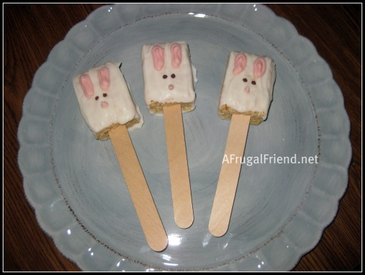 Easter Treat:  Candy Dipped Rice Krispie Bunnies! (Tutorial)
