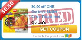 $0.50 off ONE Gorton's Skillet Crisp Tilapia item
