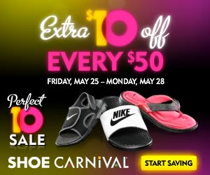 picture about Shoe Carnival Coupon Printable named Shoe Carnival Memorial Working day Weekend Printable Discount codes
