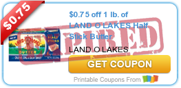 $0.75 off 1 lb. of LAND O LAKES Half Stick Butter