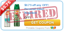 $0.75 off any OFF! Personal Insect Repellent