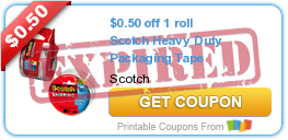 $0.50 off 1 roll Scotch Heavy Duty Packaging Tape
