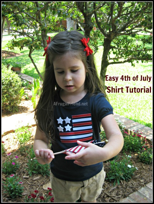 4th of July Flag Button & Applique T-Shirt (Tutorial)
