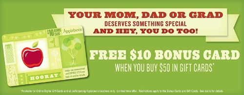 applebees gift card special applebee s purchase a 50 gift card get a free 10 bonus 1614