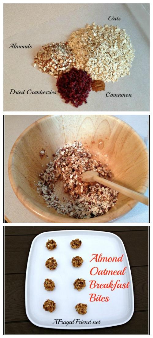 Almond Oatmeal Breakfast Bites Collage