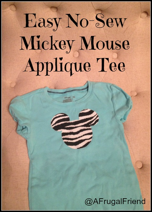 Easy No Sew Mickey Mouse Applique Tee