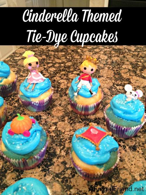 Cinderella Themed Tie-Dye Cupcakes