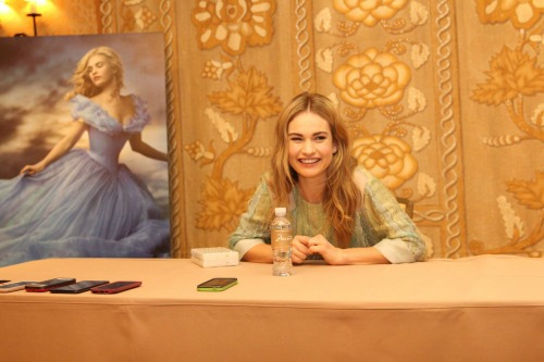 Lily James and Cinderella poster