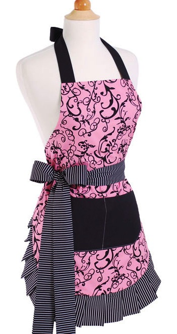 flirty aprons pink damask