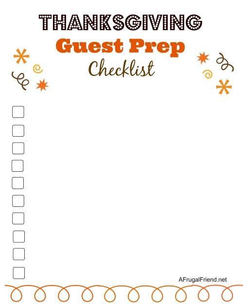 Free Thanksgiving Guest Prep Checklist Printable