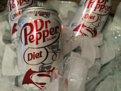 Diet Dr Pepper in ice close up