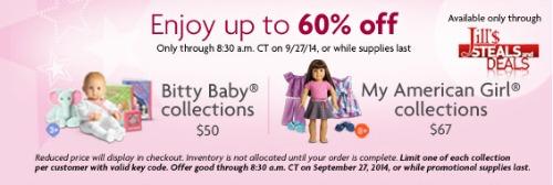 picture about American Girl Printable Coupons known as American Female Dolls with Dresses just $50-$67 - 60% off