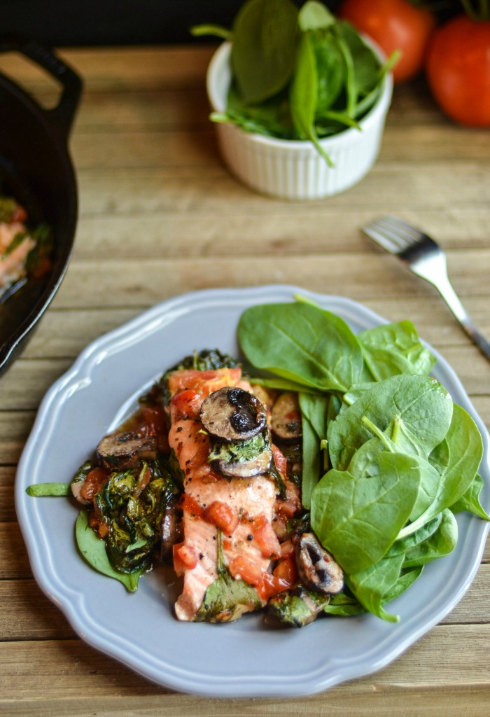Low Carb Deconstructed Baked Salmon Salad Plated
