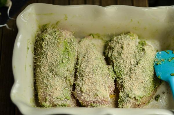 Baked Pesto Chicken with Panko Crumbs