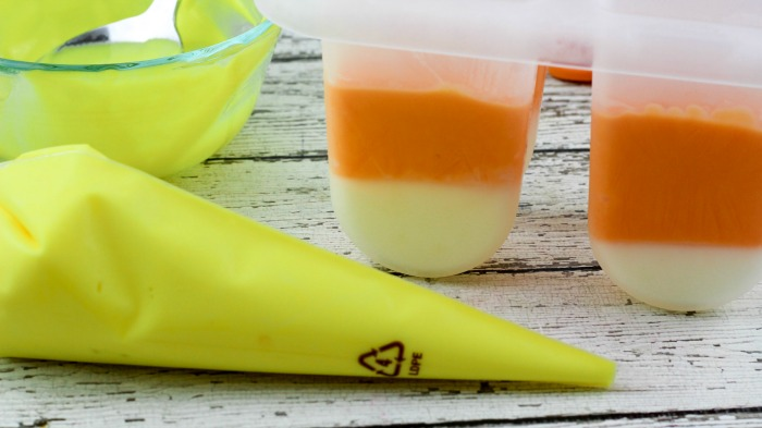 candy corn yogurt popsicles how to make
