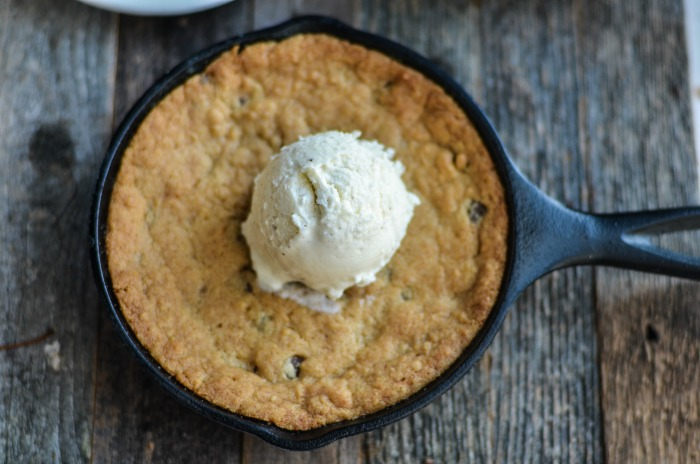 Easy Skillet Chocolate Chip Cookie with Ice Cream