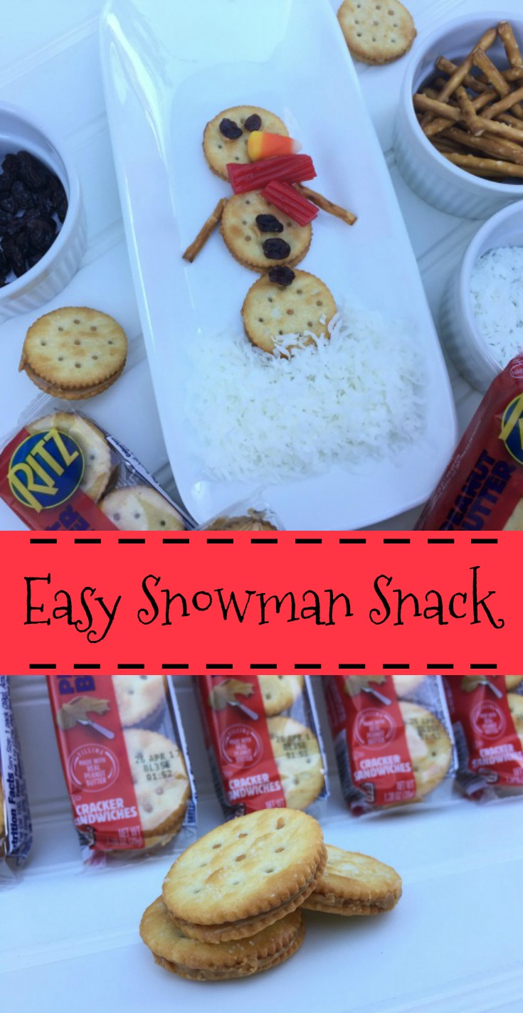 Easy Snowman Snack with RITZ Sandwich Crackers #ad #RitzFilledNotHangry