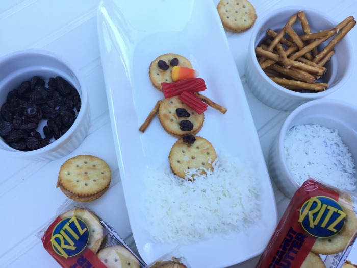 Easy Snowman Snack with RITZ Peanut Butter Sandwich Crackers