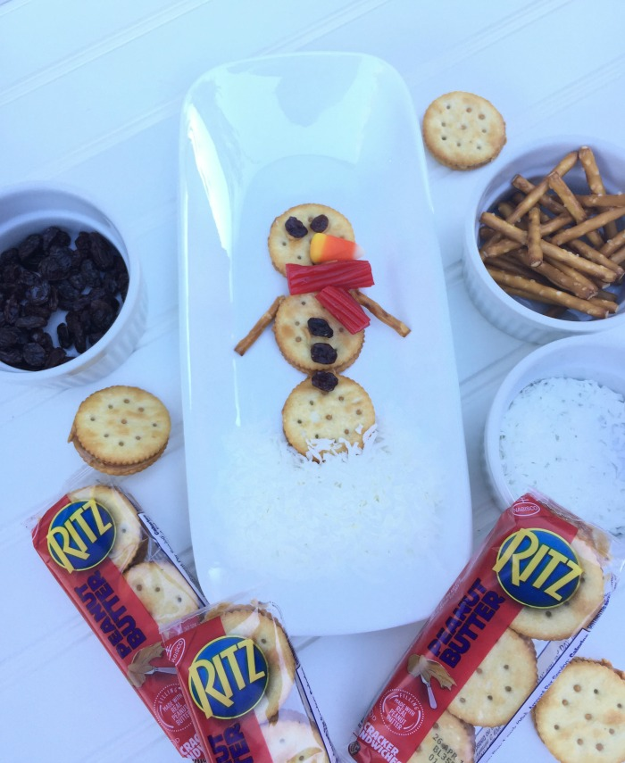 Easy Snowman Snack with RITZ Sandwich Crackers