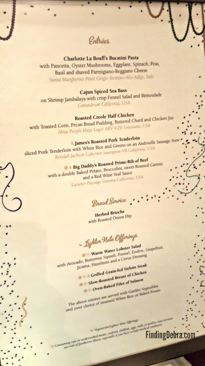 Tiana's Restaurant Menu second night