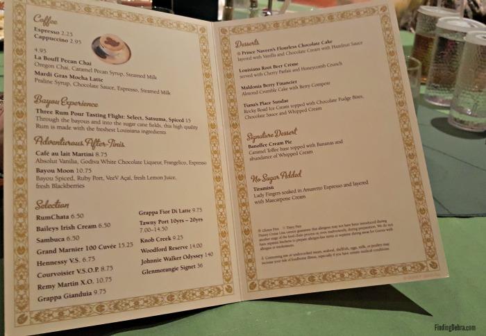 Tiana's Restaurant Menu #1