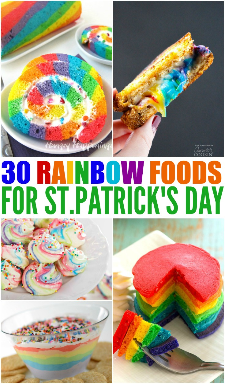How about a little food fun today with 30 Rainbow Foods? I am inspired by St. Patricks Day, but these recipes could be used to brighten your day year-round.