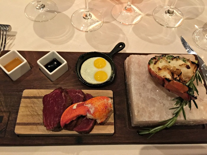 Steak, Eggs and Lobster on salt block