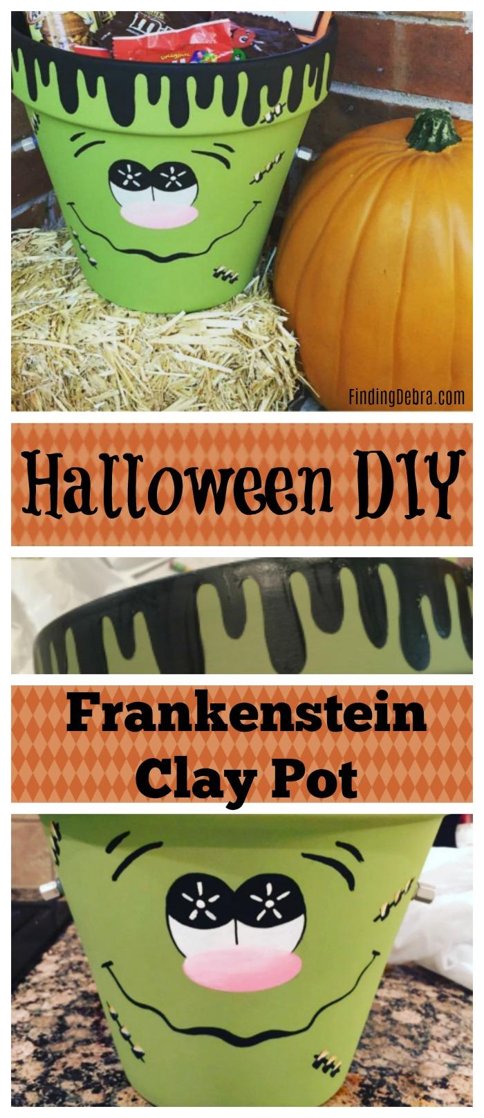 Halloween DIY Frankenstein Clay Pot For Treats