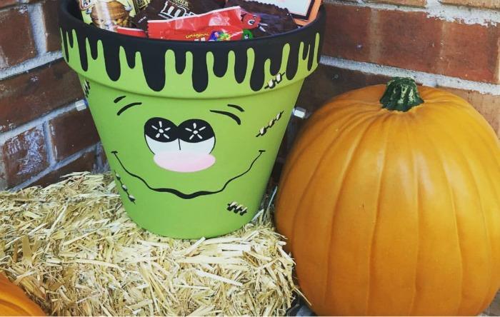 Halloween DIY Frankenstein Clay Pot