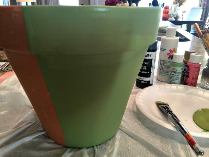 Halloween Frankenstein Clay Pot Step 1