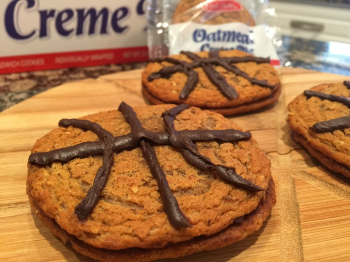 Oatmeal Creme Pies in the shape of basketballs