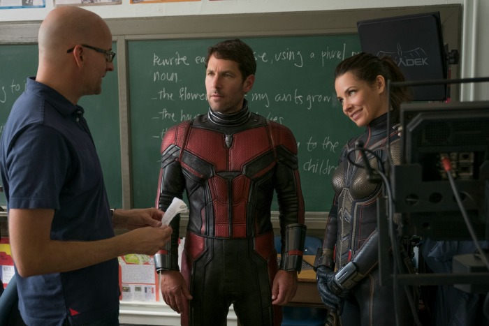 Peyton Reed with Paul Rudd and Evangeline Lilly