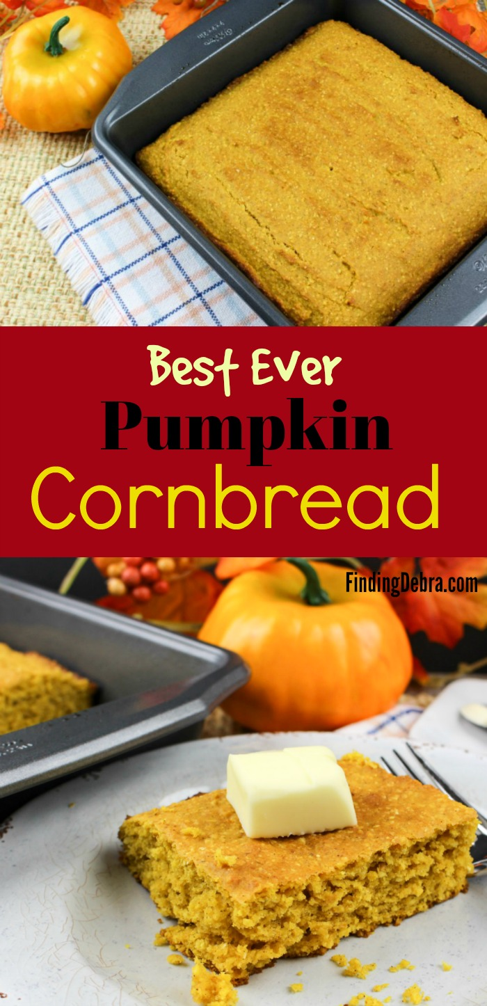 Pumpkin Cornbread - best ever sweet pumpkin cornbread perfect for Thanksgiving or holiday meals.