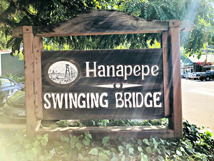 Hanapepe Swinging Bridge sign
