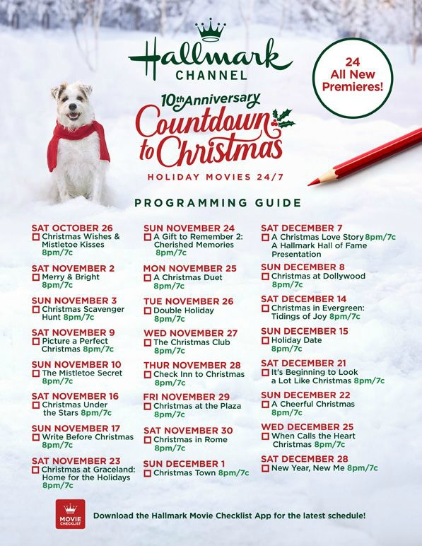 Hallmark Channel's Countdown to Christmas 10th Anniversary schedule