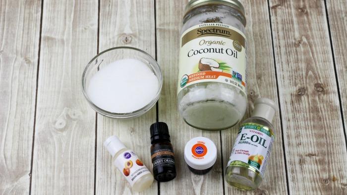 Ingredients to make lip scrub