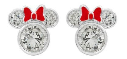 DISNEY© Minnie Mouse CZ Stud Earrings with Bow in Sterling Silver